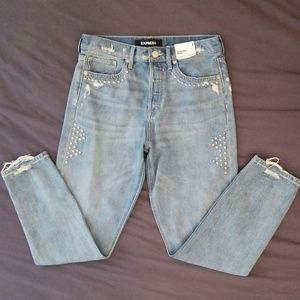 🆕 EXPRESS Studded Vintage High Rise Ankle Jeans